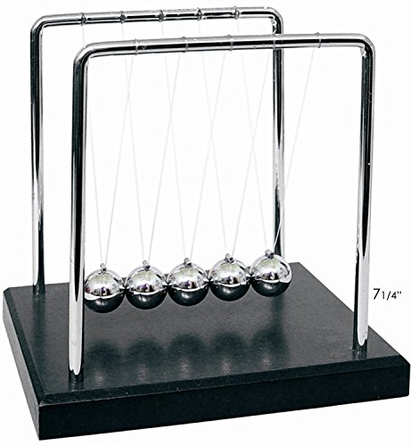 PowerTRC Newtons Cradle Balance Balls 7 1/4' | Science Physics Gadget | Desk Toys & Accessories