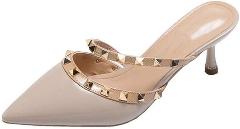 Sunshine-Family 2019 Korean Style Fur shoes Women Slippers Slip-on Sandals Half-Heeled Rivet PU Slippers