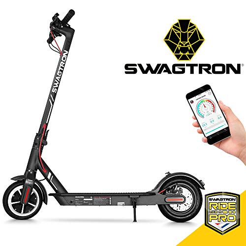 "Swagtron High Speed Electric Scooter with 8.5"" Cushioned Tires, Cruise Control and 1-Step Portable Folding – Swagger 5"