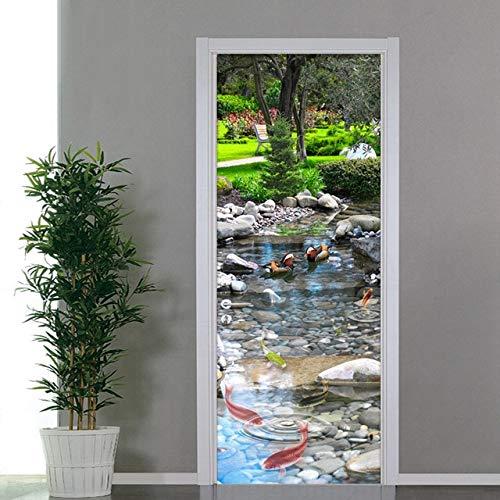 A/X 3D-Türaufkleber erneuern Buddha Tiger Landscape PVC-Wandbild Papierdruckkunst Home Decor Picture Selbstklebende wasserdichte Tapetentür YXCV2772-12
