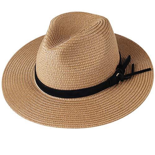 Mdsfe Panamahut Sommersonnenhüte für Frauen Mann Strand Strohhut für Männer UV-Schutzkappe chau Femme 2020 - Khaki 3, L.