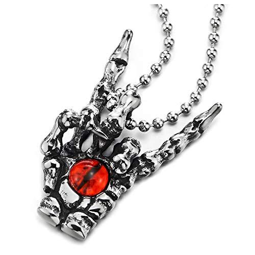 COOLSTEELANDBEYOND Herren Damen Edelstahl Halskette, Vintage Rock and Roll Handzeichen Geste Skelett Hand Klaue Anhänger Rot Bösen Blick