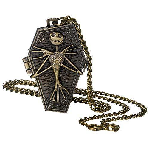 Herren Taschenuhr Bronze Vintage Unregelmäßige Punk Schädel Gehäuse arabische Ziffern Display Quarz Taschenuhr mit Kette für Halloween Kostüm Party Totenkopf-Schutzhülle.