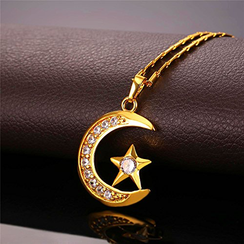 U7 Statement Islamic Jewelry 18K Gold Plated I Love You to The Moon and Back Crescent Moon Star Pendant Necklace