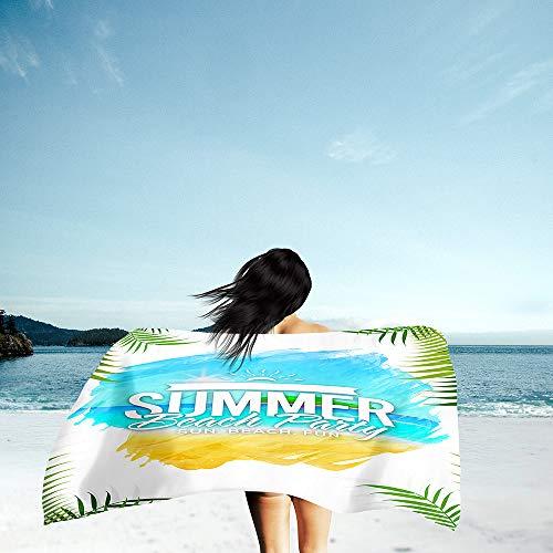 Surwin Grande Toalla de Playa de Microfibra Toalla a Impresión de Secado Rápido Súper Absorbente Natación Toalla de Arena Antiadherente para Playa, Playa Impresión (Hoja Verde,80x160cm)