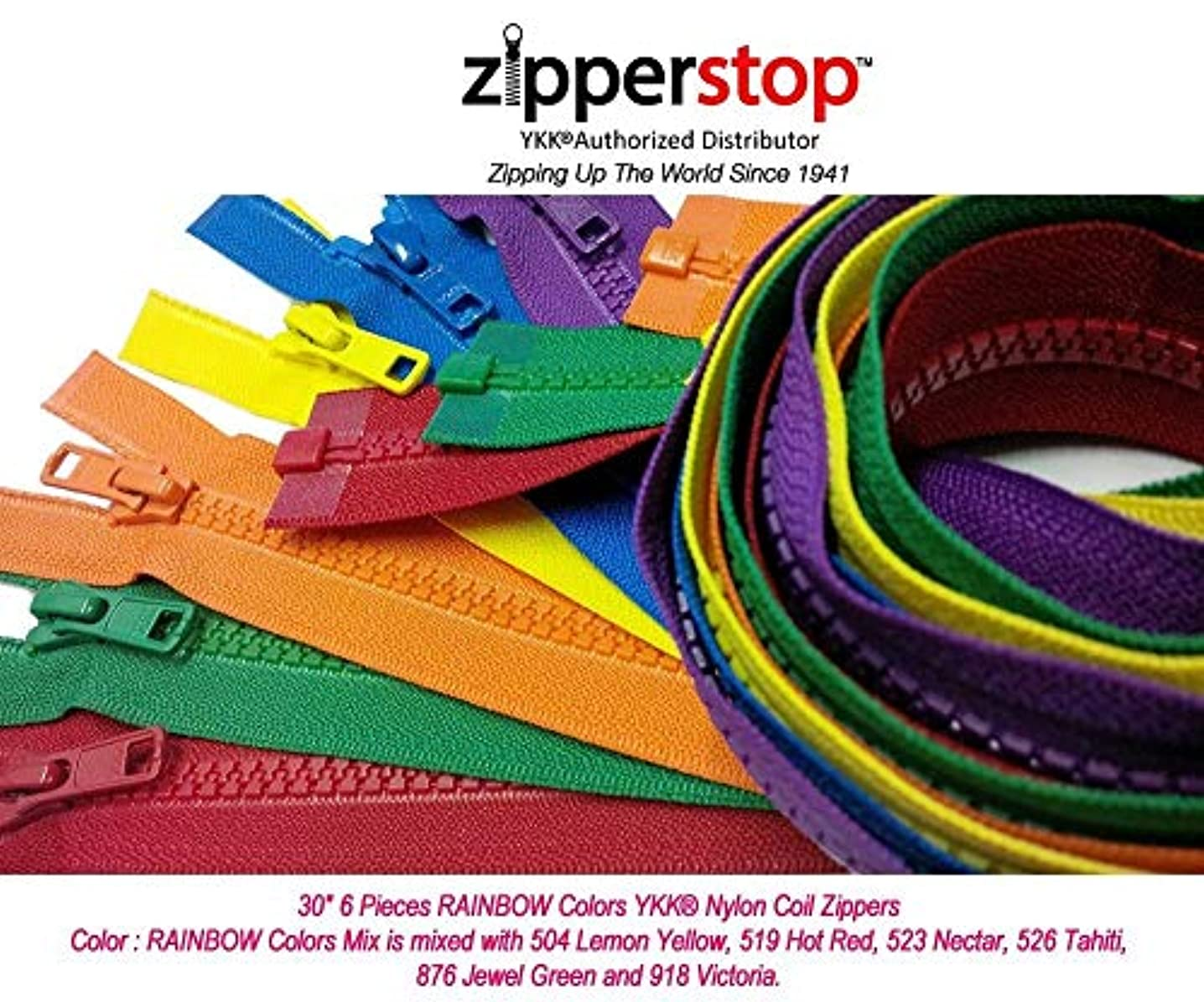 Zipperstop Wholesale YKK?- 30 Inch Vislon Sport Jacket Zippers for All Special Occasions YKK? #5 Molded Plastic Separating in Rainbow Colors Mix Is Mixed with 504, 519, 523, 526, 876 and 918 Made in USA
