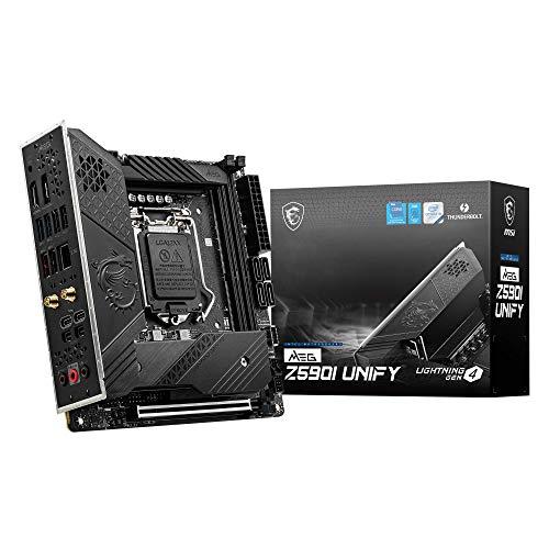MSI MEG Z590I UNIFY Scheda madre gaming Mini-ITX - Supporta processori Intel Core di 11th Gen, LGA 1200 - 8+1+1 Fase 90A SPS, DDR4 Boost (5600MHz/OC), PCIe 4.0 x16, 2 x M.2 Gen4/3 x4, Wi-Fi 6E