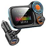 Transmisor FM Bluetooth, Bluetooth 5.0 Adaptador de Radio Inalámbrico con Pantalla a Color de 1.77', Puerto de Carga Dual QC3.0 y 5V/2.4A, Manos Libres para Coche con Sonido de Agudos y Graves