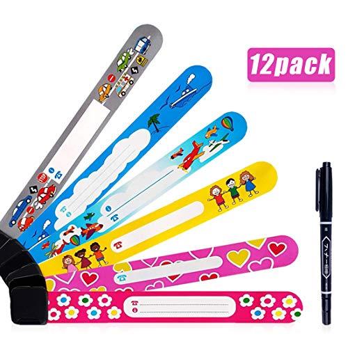 DireeKids Bracciale Bambino Antismarrimento 12 Pack mai Fade Braccialetto Identificativo Bambini Braccialetti Identificativi Bambini Sicurezza Dotato di una penna speciale (12-pack)