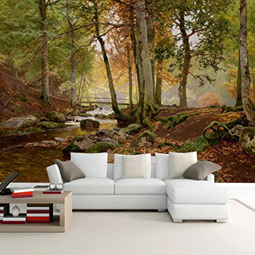Mural Forest Oil Painting Mural 3D Photo Murals for Living Room and Bedding Room 3D Wall Murals Fresco Home Decor-250X175Cm