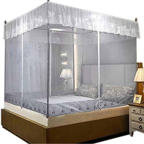 Hushållsmyggnät, Sittande säng Tre dörrar Zipper Modeller Tjockat Rostfritt Stål Bracket Myggnät gray-1.5 * 2m