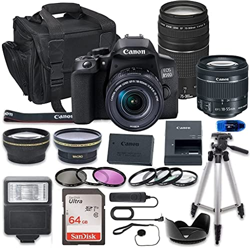 Canon EOS 850D (Rebel T8i) DSLR Camera Bundle with 18-55mm STM & 75-300mm III Lens Bundle + 64GB High Speed Memory Card + Accessory Kit