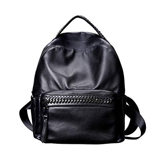 YuanYu Borsa casual selvaggia moda zaino-donna, grande capacità può contenere file di computer A4 per riviste da 12 pollici, borsa a doppio uso con doppio schienale singolo zaino (Color : Black)