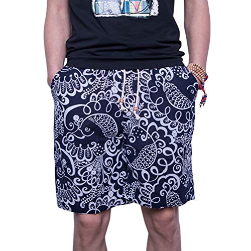 Feidaeu Mens Shorts Frais et Confortable pour résister à la Chaleur Cordon Cordon Taille élastique décoration décoration Imprimer Droite Casual Quotidien Style Court