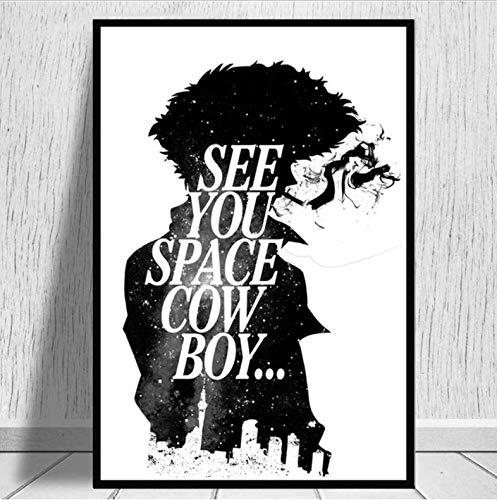 tgbhujk Anime Cowboy Bebop Spike Jet Carteles e Impresiones Poster Wall Art Picture Lienzo Pintura para la habitación Decoración del hogar 42x60 CM Sin Marco