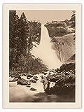 Pacifica Island Art Fotografía histórica de Carleton E. Watkins c.1865 de Nevada Fall, del Valle de Yosemite, California en blanco y negro, impresión en lienzo orgánico RAW, 45,7 x 60,9 cm
