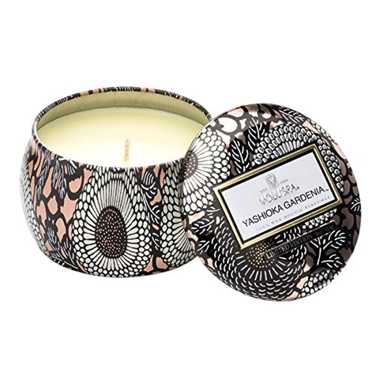 しがみつく半円フェザーVoluspa ボルスパ ジャポニカ リミテッド ティンキャンドル  S ヤシオカガーデニア YASHIOKA GARDENIA JAPONICA Limited PETITE Tin Glass Candle