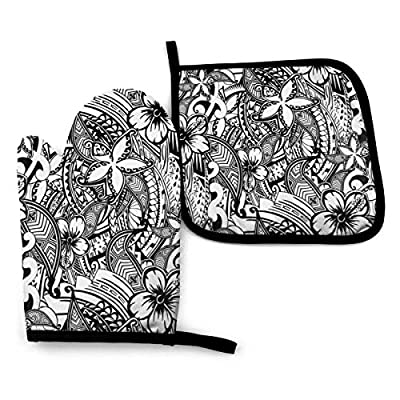 Oven Mitts and Pot Holders Set,Hawaiian Polynesian Tatoo Print Washable Heat Resistant Kitchen Non-Slip Grip Oven Gloves for Microwave BBQ Cooking Baking Grilling