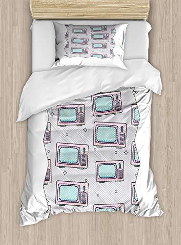 ABAKUHAUS Tv programma Dekbedovertrekset, Grappige Retro Televisies, Decoratieve 2-delige Bedset met 1 siersloop, 130 cm x 200 cm, Paars Grijs Baby Pink