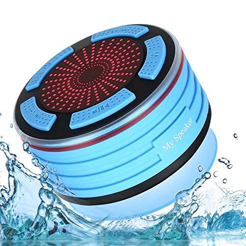Draagbare Mini Bluetooth Speaker Waterdichte Bluetooth Speaker FM Radio LED Douche Speaker Geschikt voor thuis of op reis, Blauw