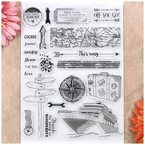 Kwan Crafts Travel Ship Compass Map Home Thanks Clear Stamps for Card Making Decoration and DIY Scrapbooking