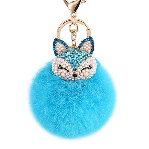 Boseen Genuine Rabbit Fur Ball Pom Pom Keychain with A fashion Alloy Fox Head Studded with Synthetic Diamonds(Rhinestone) for Womens Bag Cellphone Car Charm Pendant Decoration(Bright Blue)