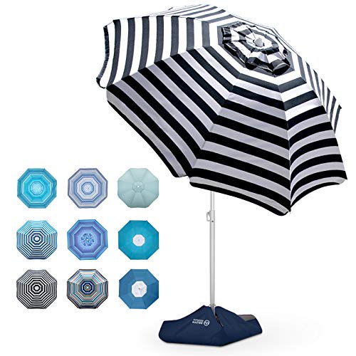 Beach Umbrella - 6.5ft Heavy Duty Windproof Tilt Portable Umbrella with Sand Anchor & Sand Bags UPF 50+ PU Coating with Carry Bag for Patio and Outdoor - Navy Striped