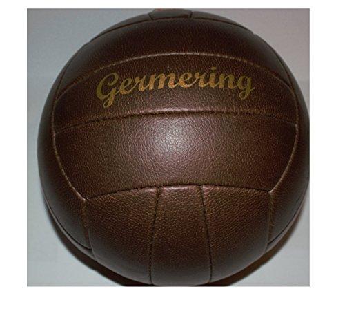 Bavaria Home Style Collection Fussball/Ball/braun/Gr. 5 / Nostalgieball/Nostalgie Ball/Retroball im Leder Look mit Ziernieten und goldenem Print Schriftzug Germering