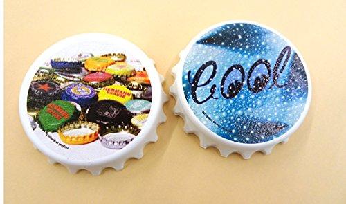 2 Stück Kapselheber Cap, bedruckt mit Motiven CooL und Kronkorken