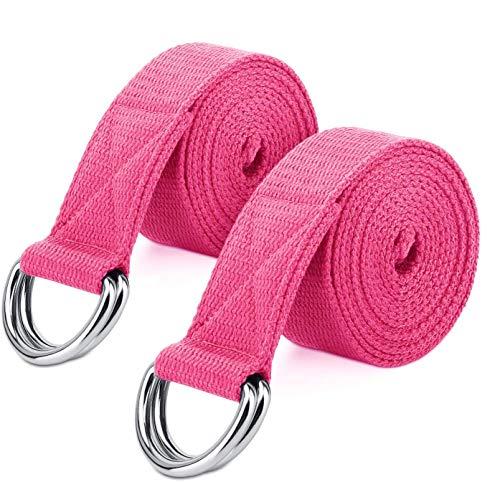 MoKo [2 Pezzi Cinghia da Yoga,180cm Cintura Elastica Morbida Durevole di Cotone per Ginnastica Fitness,con D-Ring Anello Metallico,Ideale per Miglioramento di Flessibilità,Terapia Fisica - Magenta