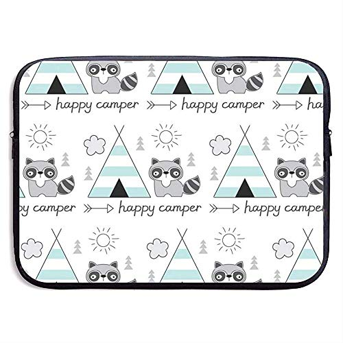 Happy Camper met Tent Wasbeer Laptop Sleeve Bag Draagbare Rits Laptop Tas Tablet Tas, 15 Inch