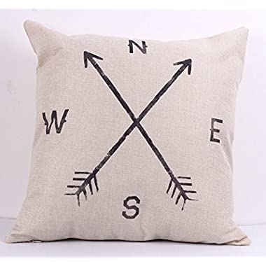 NEW BARLEY Letter Design Throw Pillow Cover Pillow Case 18 x 18 Inch Cotton Linen for Sofa (Compass)