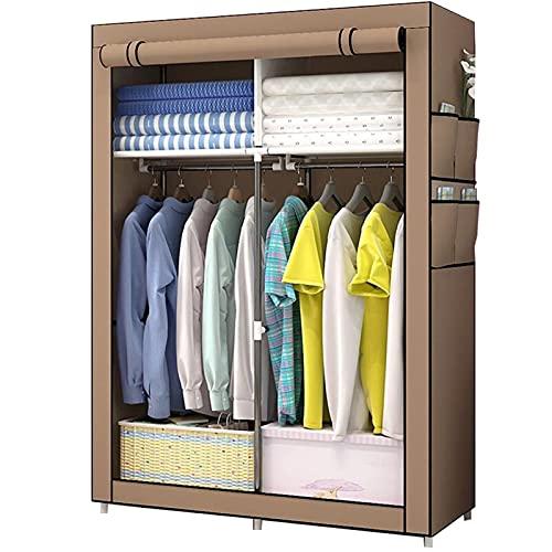 LICHUAN Armario portátil para colgar ropa, dormitorio, tela plegable, armario de almacenamiento para ahorrar espacio (color: marrón)