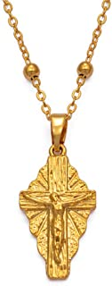 Hawaii Small Charm Cross Pendant Necklaces for Women Girls Guam Micronesia Chuuk Pohnpei Jewelry Religious Items 45Cm