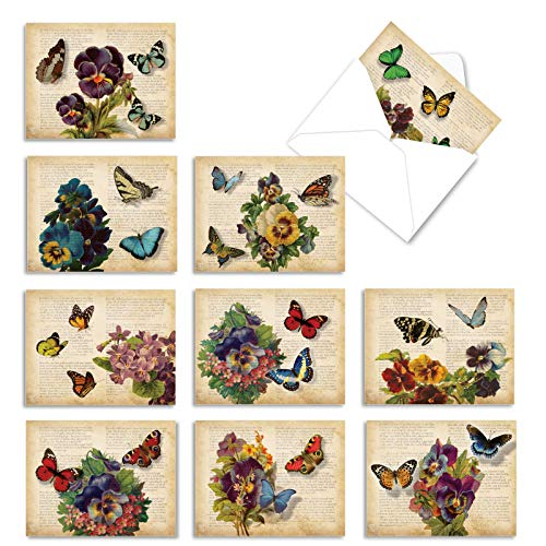 The Best Card Company - 10 Blank Flower Cards for All Occasions (4 x 5.12 Inch) - Retro Floral Card Assortment - Fluttering Words M6477OCB