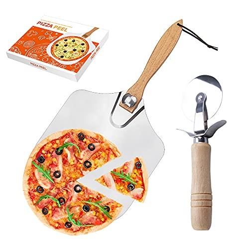 Gobesty Pizzaschaufel, Profi Pizzaschieber Aluminium Metall Pizza Schieber mit Großer Fläche, Pizzaheber Holzgriff Pizzaschneider Pizzaset zum Backen Pizza Brot Kuchen Kekse im Ofen Grill, 30,5 cm