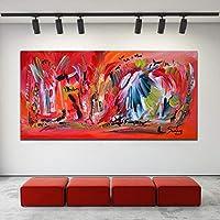 KDSMFA抽象レッドアートキャンバス絵画タブルージュ壁画リビングルームモダンデコレーションポスター/ 60x120cm(フレームなし)