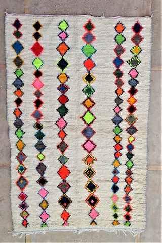220 x 145 cm AZ37115 AZILAL Rug Ourika, Beni Bär Vintage Berber Rug Morocco, Wool Carpet, Boucherouit