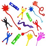AMGLOBAL 100 Pieces Assorted Stretchy Sticky Toy, Includes 20 Sticky Hands, 20 Sticky Snakes, 20 Sticky Hammers, 20 Sticky Frogs and 20 Wall Climb Men for Kids for Fun