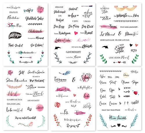 CeenoSign Gästebuch Hochzeits Sticker,schöne sprüche Aufkleber -Durchsichtig -Watercolors Design 136 Stick