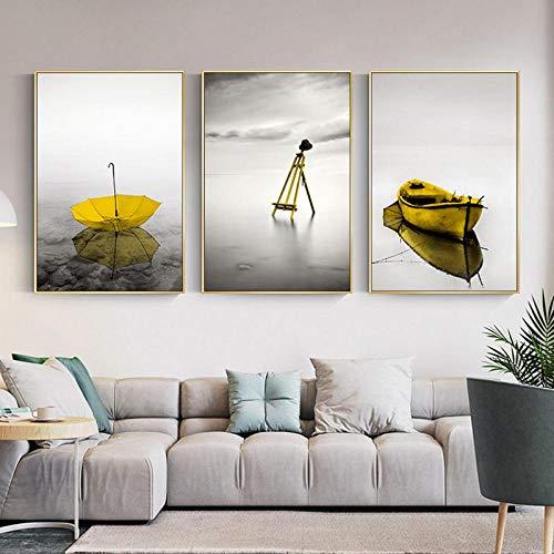 LLXHGNordic Style Schwarz-Weiß-Seestück Leinwand Gemälde Gelb Regenschirm Boot Poster Und Druckbild Wohnzimmer Schlafzimmer Dekor-50X75Cmx3Pcs Ungerahmt
