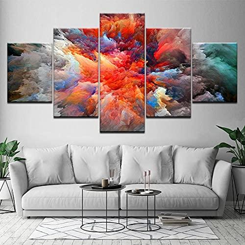 Composición De 5 Cuadros De Madera para Pared Nube De Algodón De Colores Impresión Artística Imagen Gráfica Decoracion De Pared Abstracto 150 * 80Cm con Marco