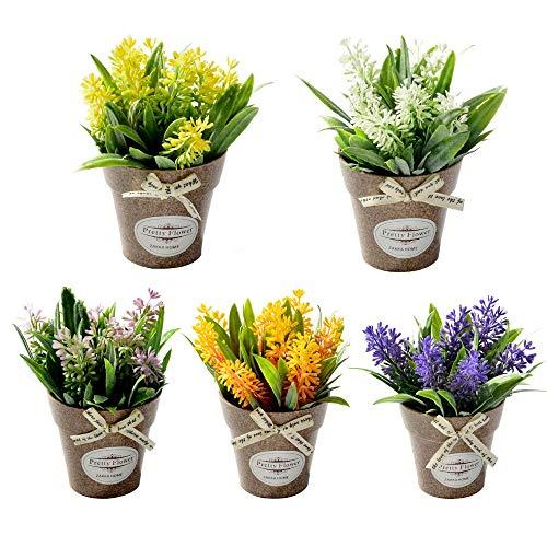 Blanketswarm 5 mini flores artificiales bonsái con maceta de plástico, plantas de bonsái falsas, arreglos florales para el...