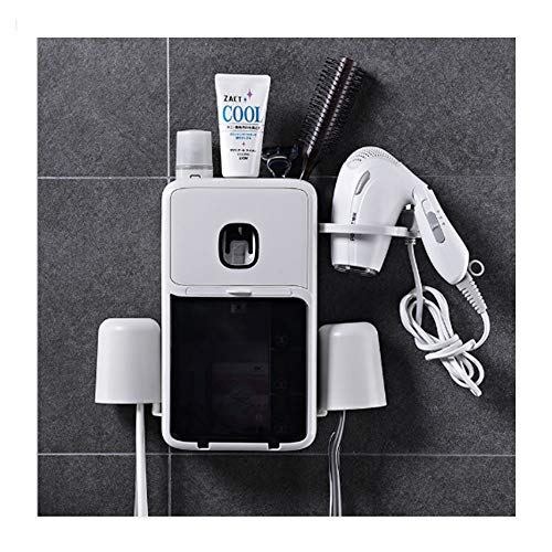 FGHO Multifunction Toothbrush Holder with Hair Dryer Rack,Toothbrush Holder Wall Mounted Automatic Toothpaste Dispenser Squeezer and Holder for Bathroom
