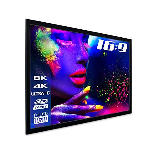 Esmart Professional Mirale Rahmen-Leinwand [Gröÿenauswahl] 266 X 149 Cm (120\) 16.9 | Vollmaskierung | Heimkino Beamer Projektionsleinwand Rahmen Leinwand LCD Led