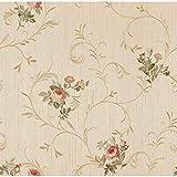 Carta da parati Satin Flowers Z44651 fiori classici rosso bordeaux, arancio, beige, verde su base crema eff. tessuto