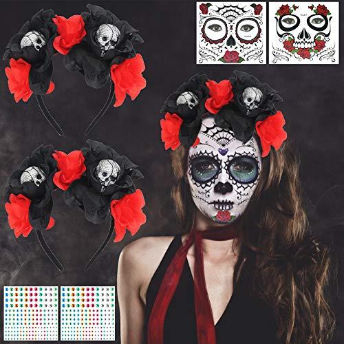 LOPOTIN 2pcs Diadema Mexicana, 2pcs Tatuajes Cara Da Muerto, Diadema Catrina, Tiaria Roja Rosa para Disfraces Novias Demonio de Carnival Da Muertos Fiestas Mexicanas para Mujeres Hombres y Nios.
