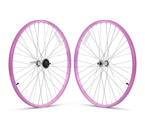 """Firmstrong 3-Speed Beach Cruiser Bicycle Wheelset, Front/Rear, Pink, 26"""""""