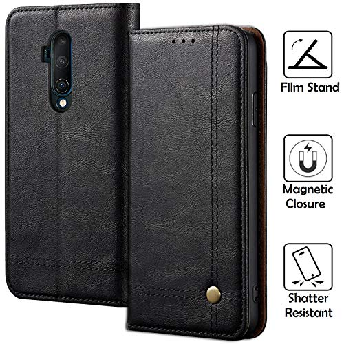 Oneplus 7T Pro Case, REAL-EAGLE Oneplus 7T Pro Wallet Case, Premium PU Leather Wallet Protection Case with [Kickstand] [Card Slots] [Magnetic Closure] for Oneplus 7T Pro 2019, Black