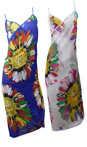 Emilys Gems strandjurk van zijde | 2-pack | wikkeljurk cover up strandponcho | Zomer 2020 badmode dekken universele maat bikini – 100% zijde | doorzichtig | 3 varianten met patroon